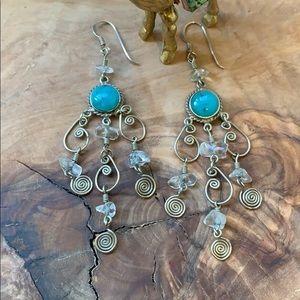 Vintage Sterling Silver Aqua Chandelier Earrings